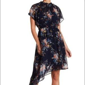Navy Floral- Garden Asymmetrical Dress- Midi